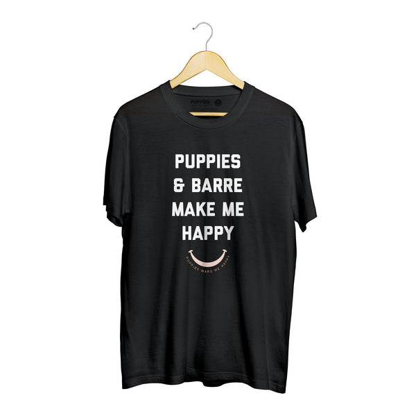 Puppies & Barre Title | Soft Cotton Uni-Sex Tee - Puppies Make Me Happy