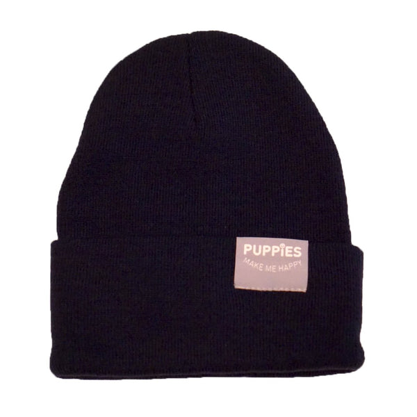 Puppies Fold Over Reversible Label Beanie