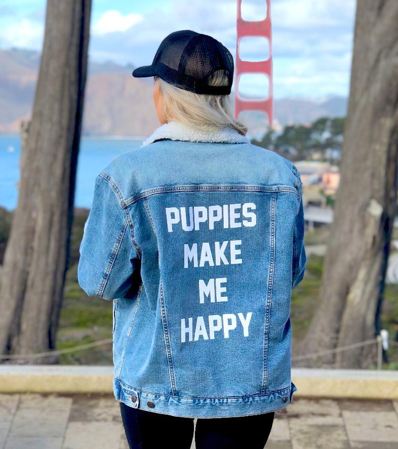 Doodle Puppies Uni-Sex Printed Sherpa Lined Jean Jacket
