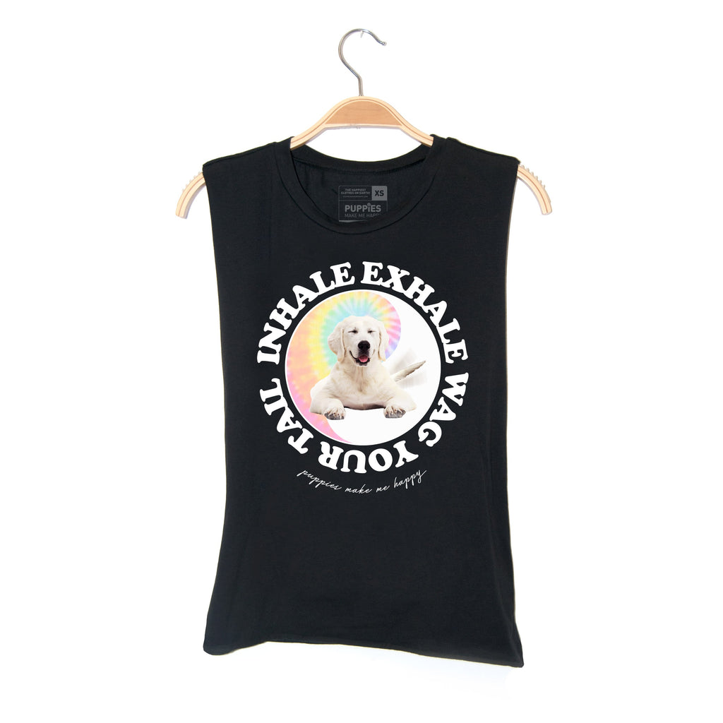 Inhale, Exhale, Wag Your Tail | Unisex Heavyweight Tank - Puppies Make Me Happy