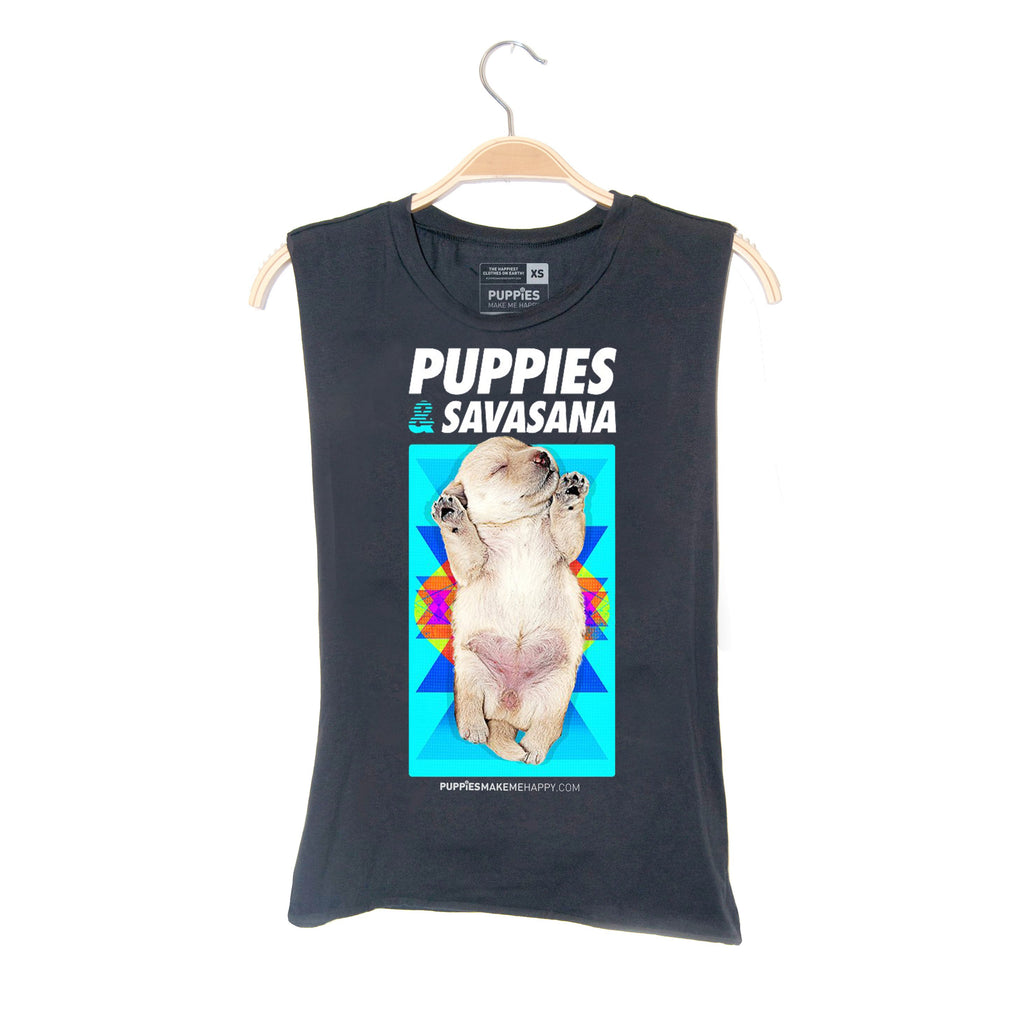 Savasana | Puppies Soft Uni-Sex Tank - Puppies Make Me Happy