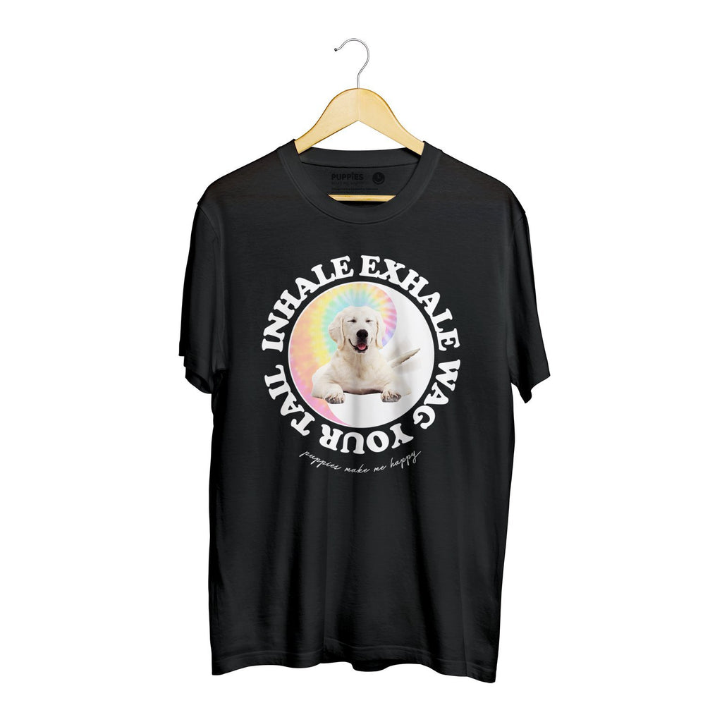 Inhale, Exhale, Wag Your Tail | Heavyweight Tee - Puppies Make Me Happy