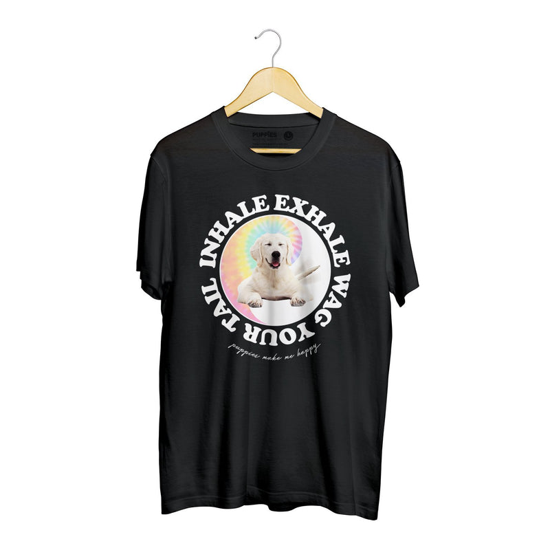 Inhale, Exhale, Wag Your Tail | Soft Cotton Uni-Sex Tee - Puppies Make Me Happy