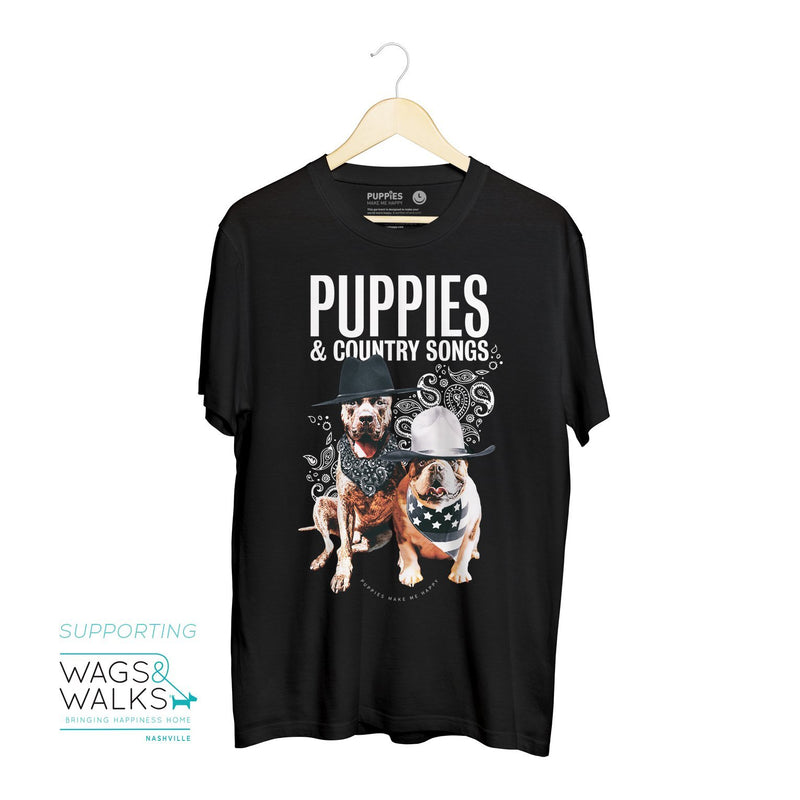 Country Songs - Uni-Sex Crewneck Tee - Supporting Wags & Walks with Kane Brown - Puppies Make Me Happy