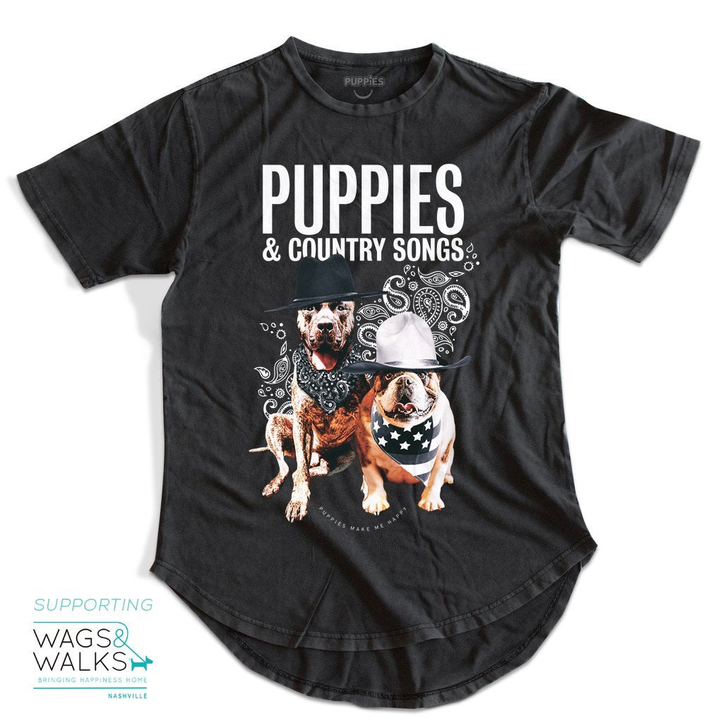 Country Songs - Scoop-Bottom Uni-Sex Tee - Supporting Wags & Walks with Kane Brown - Puppies Make Me Happy