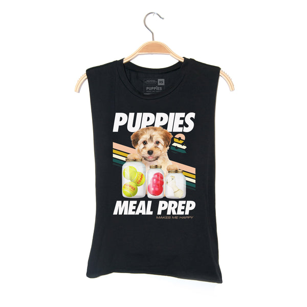 Puppies Meal Prep | Soft Cotton Uni-Sex  Tank - Puppies Make Me Happy