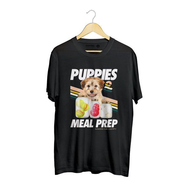Puppies Meal Prep | Soft Cotton Uni-Sex  Tee - Puppies Make Me Happy