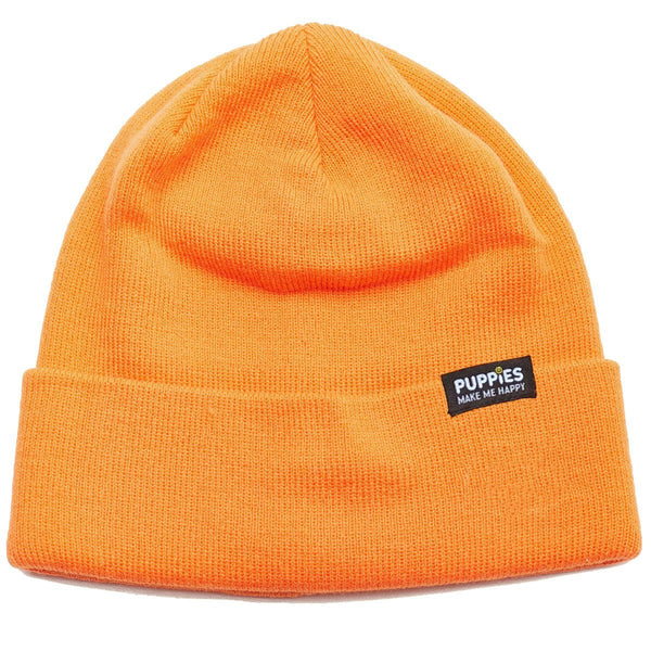 Happy Label | Hot Orange Beanie - Puppies Make Me Happy
