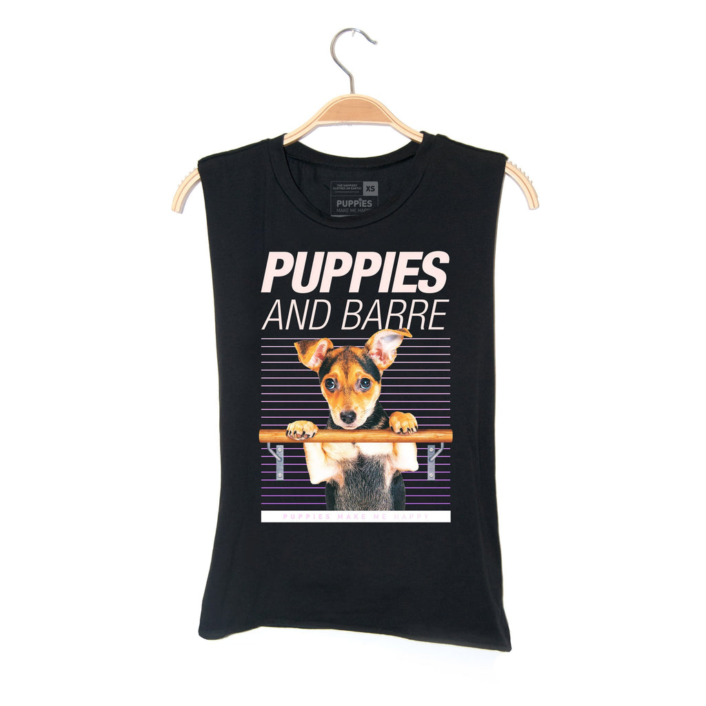 Puppies & Barre | Soft Cotton Uni-Sex  Tank - Puppies Make Me Happy