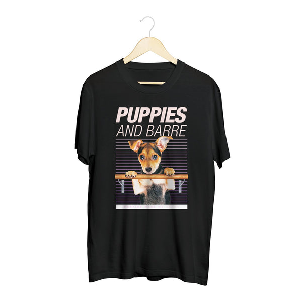 Puppies & Barre | 20's Recolor - Soft Cotton Uni-Sex  Tee - Puppies Make Me Happy