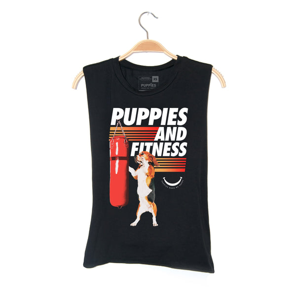 Knockout Puppies | Soft Cotton Uni-Sex Tank - Puppies Make Me Happy