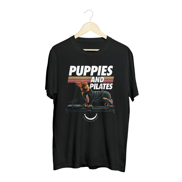 Puppies & Pilates | 20's Recolor - Soft Cotton Uni-Sex  Tee - Puppies Make Me Happy