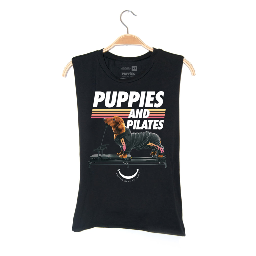 Puppies & Pilates | Soft Cotton Uni-Sex  Tank - Puppies Make Me Happy