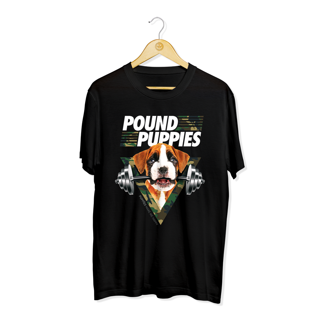 Pound Puppies | Men's Crewneck Tee - Puppies Make Me Happy