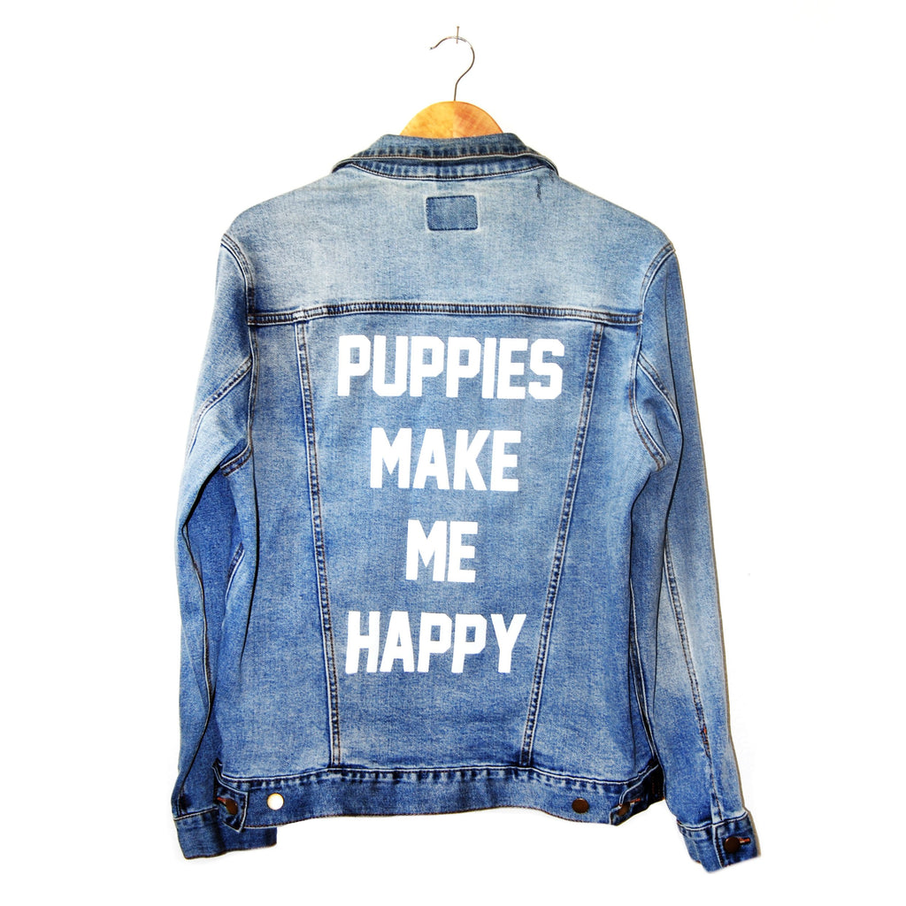 Bad Boy Jacket | Uni-Sex Printed Denim - Puppies Make Me Happy