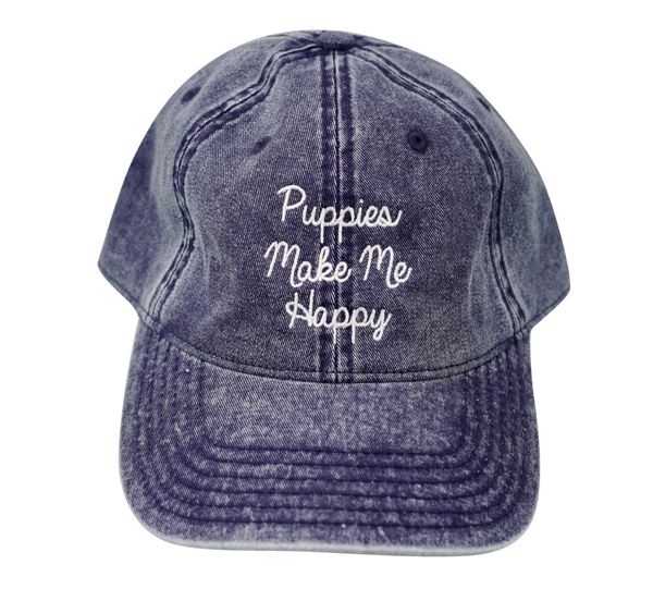 Love Letter | Distressed Strapback Hat - Puppies Make Me Happy