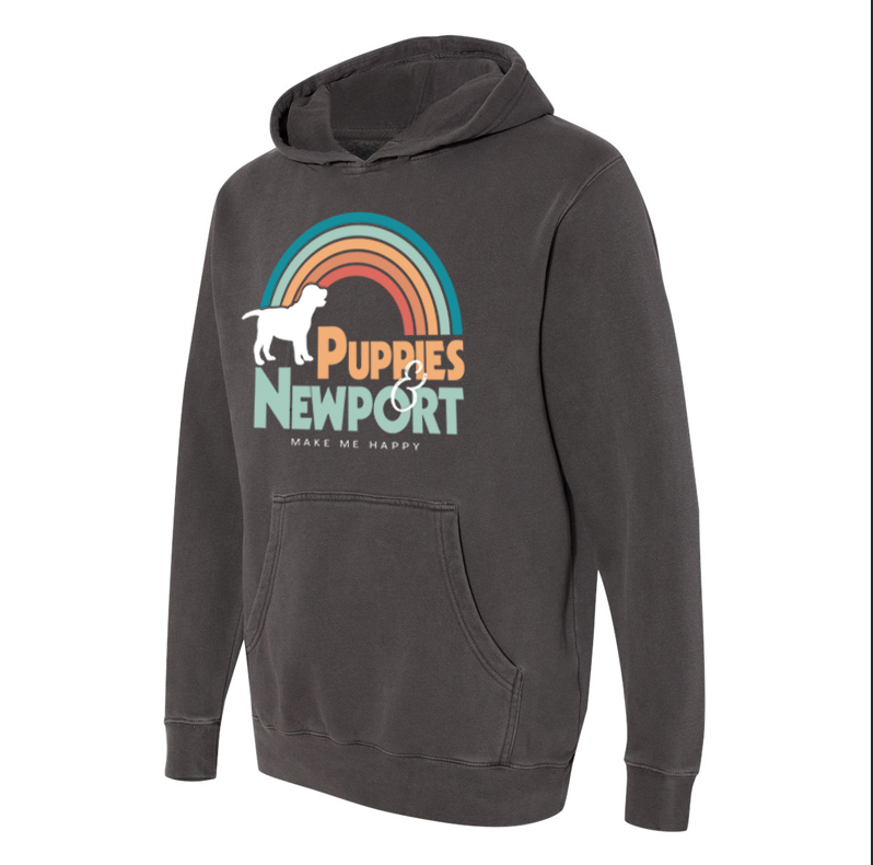 Puppies & Newport | Hooded Sweatshirt - Puppies Make Me Happy