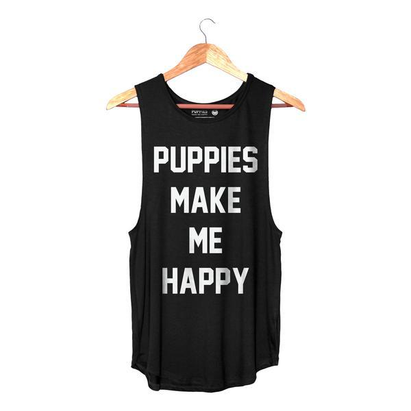 Title Tee - Women's Sleeveless - Puppies Make Me Happy