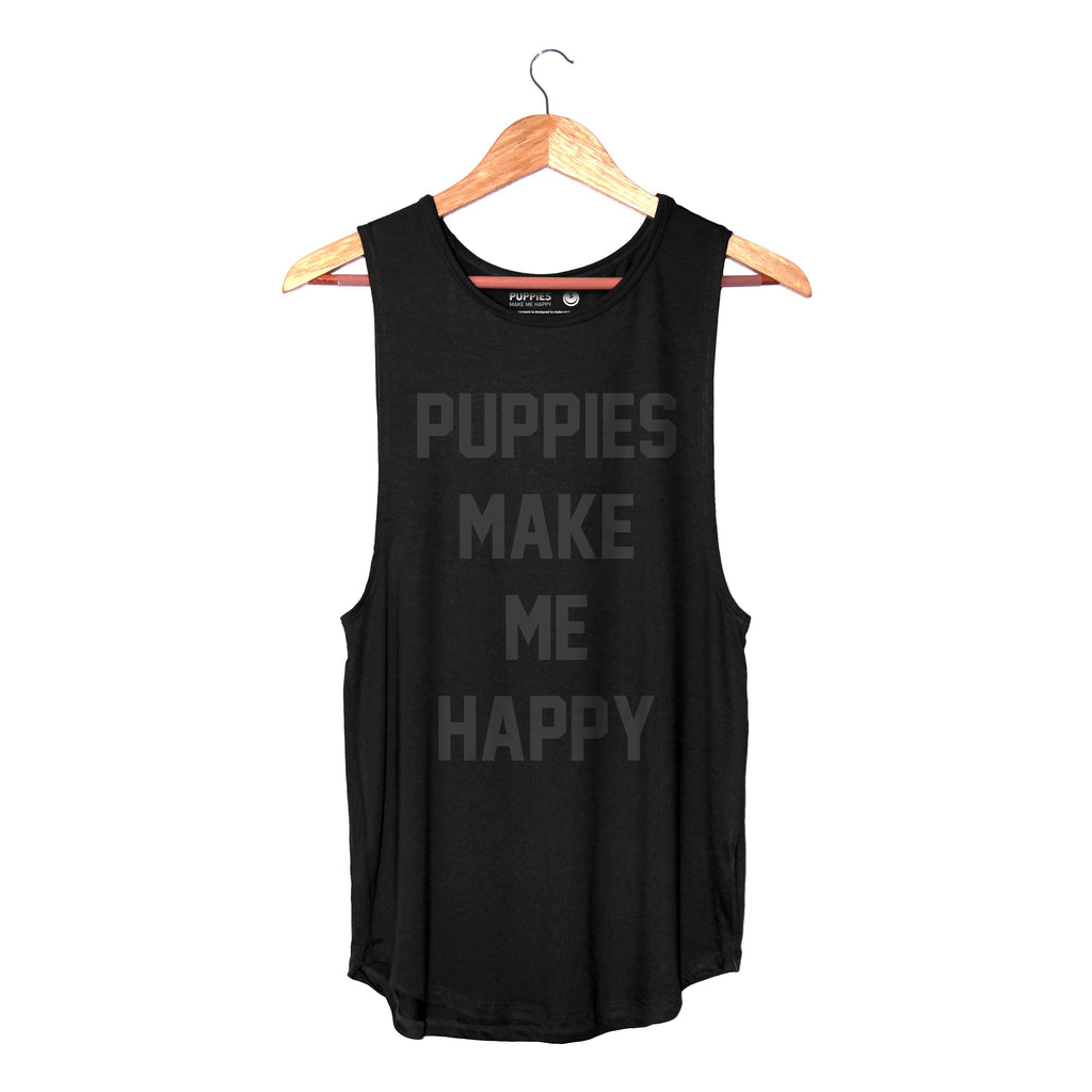 Title Black on Black Foil | Women's Sleeveless - Puppies Make Me Happy