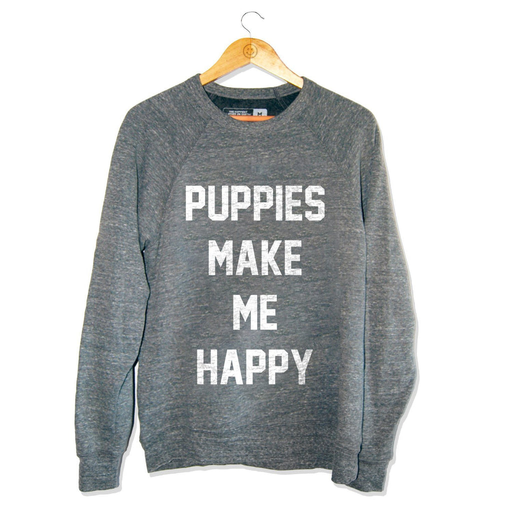 Title | Tri-Blend Gray Crewneck Sweatshirt - Puppies Make Me Happy
