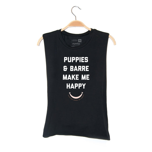 Puppies & Barre Title | Soft Cotton Uni-Sex  Tank - Puppies Make Me Happy