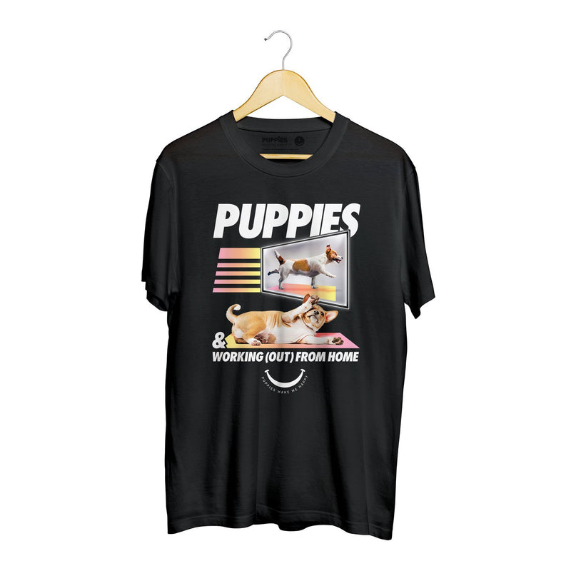 Work(Out) From Home | Soft Cotton Uni-Sex  Tee - Puppies Make Me Happy