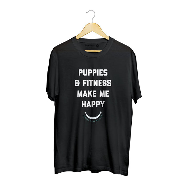 Puppies & Fitness Title | Soft Cotton Uni-Sex  Tee - Puppies Make Me Happy