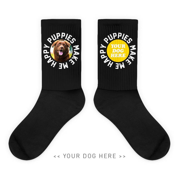 Your Dog Here - Smiley - Socks - Puppies Make Me Happy