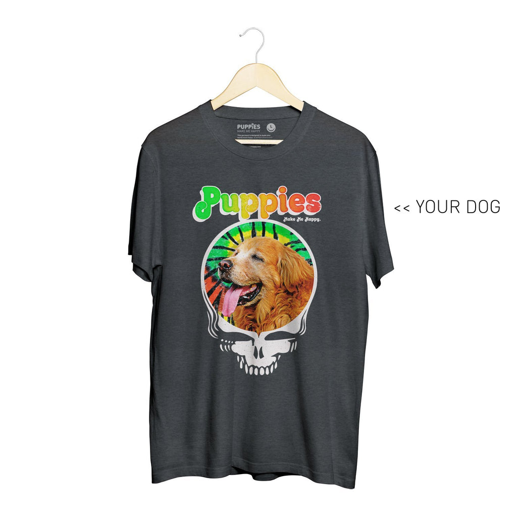 Your Dog Here - Puppies & Hippies | Heavyweight Uni-Sex Tee - Puppies Make Me Happy