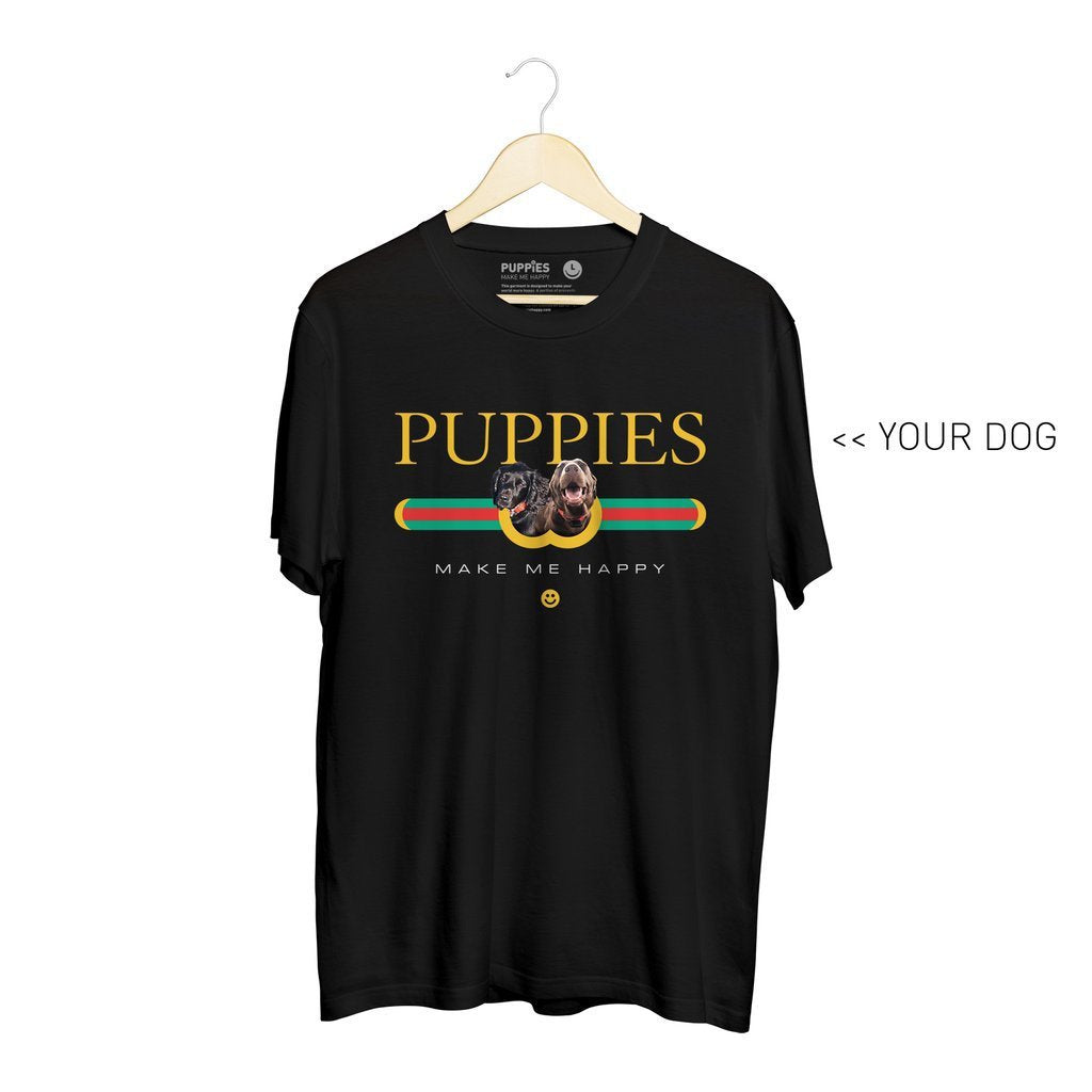 Your Dog Here - Pup Lux | Soft Cotton Uni-Sex Tee - Puppies Make Me Happy