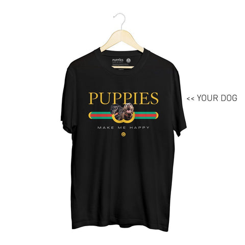 Your Dog Here - Pup Lux | Heavyweight Uni-Sex Tee - Puppies Make Me Happy