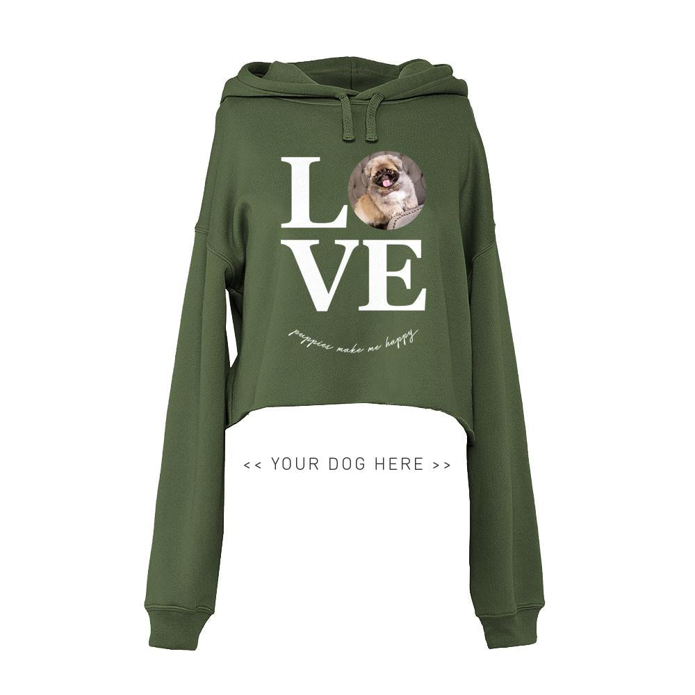 Your Dog Here - True Puppy Love - Crop Top Hoodie - Puppies Make Me Happy