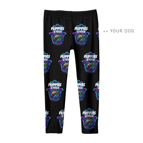 Your Dog Here - Your Dog and Yoga - Youth Leggings - Puppies Make Me Happy