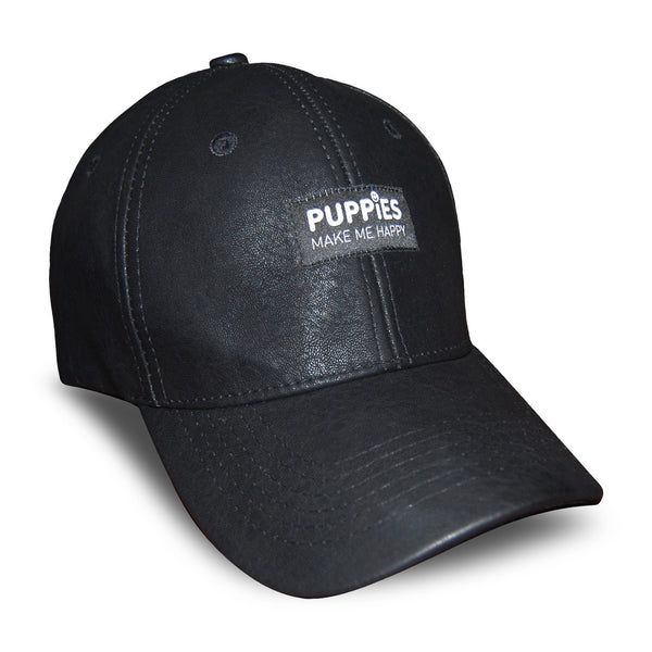Black Label | Faux-Leather Snapback Hat - Puppies Make Me Happy