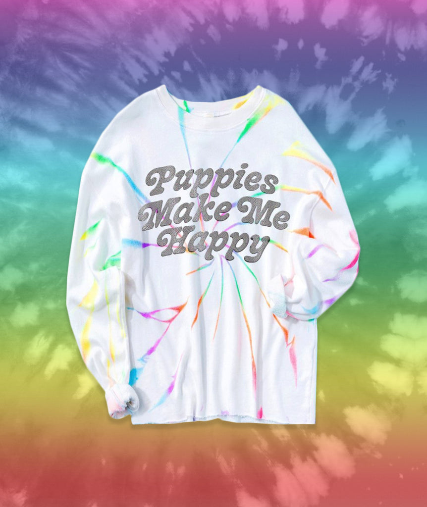 Rainbow Swirl Puppies | Tie-Dye Cropped Pullover - Puppies Make Me Happy