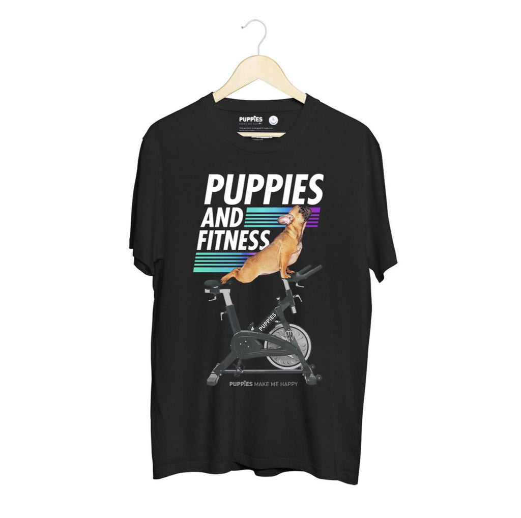 Puppies & Fitness (Spin Bike) | Puppies Soft Uni-Sex Tee