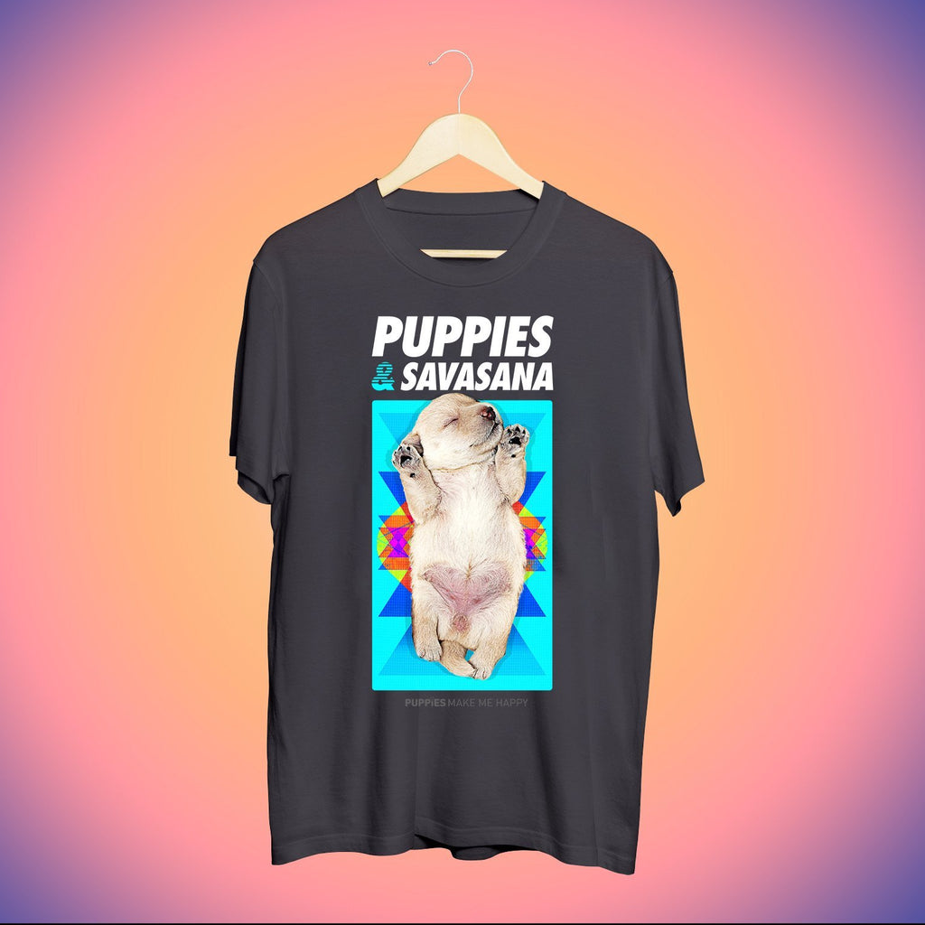 Savasana | Uni-Sex Crewneck Tee - Puppies Make Me Happy