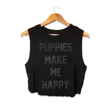 Title Tee Black on Black Foil | Crop Top - Puppies Make Me Happy