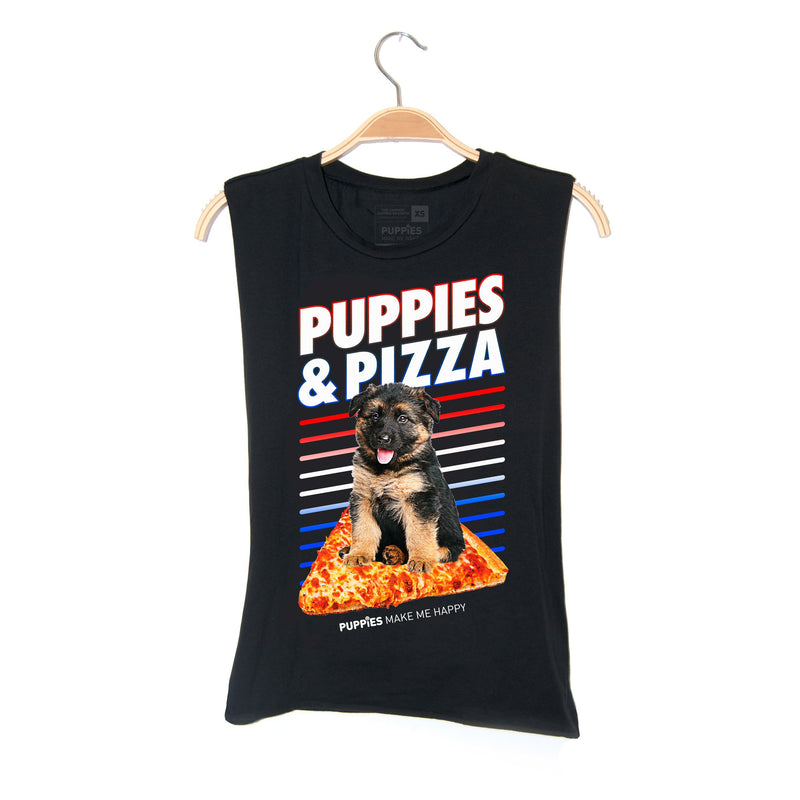Puppies & Pizza | Soft Cotton Uni-Sex  Tank - Puppies Make Me Happy