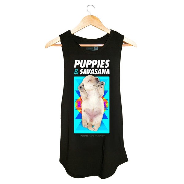 Savasana | Women's Sleeveless - Puppies Make Me Happy