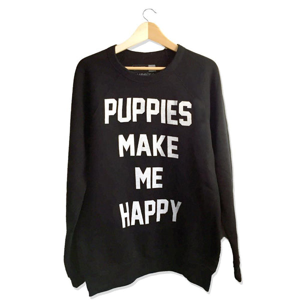 Title Black | Crew Neck Sweatshirt - Puppies Make Me Happy