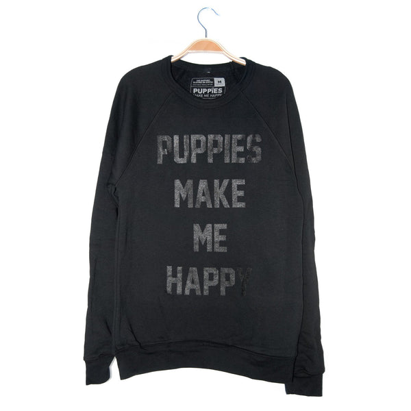 Title Tee | Black on Black Sweatshirt - Puppies Make Me Happy