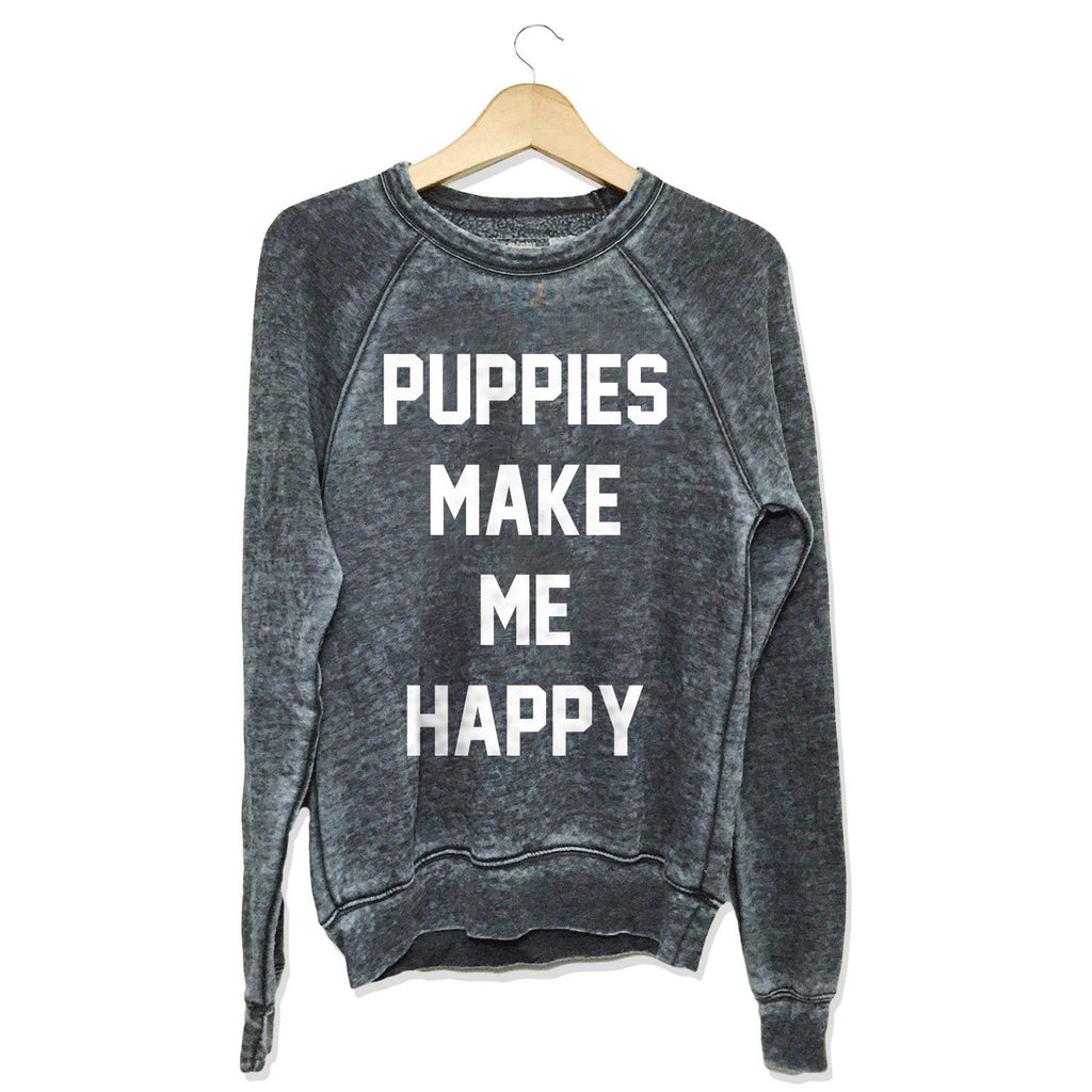 Title Tee | Acid Wash Crew Neck - Puppies Make Me Happy