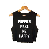 Title Tee | Crop Top - Puppies Make Me Happy