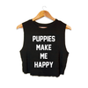 Title Tee | Crop Top - Women's Crew Neck Tee -  - Puppies Make Me Happy - 1