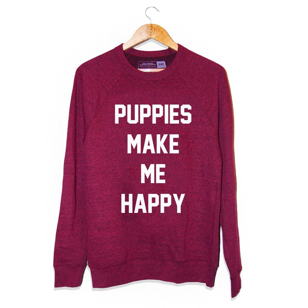 Title Tee | Maroon Crewneck Sweatshirt - Puppies Make Me Happy