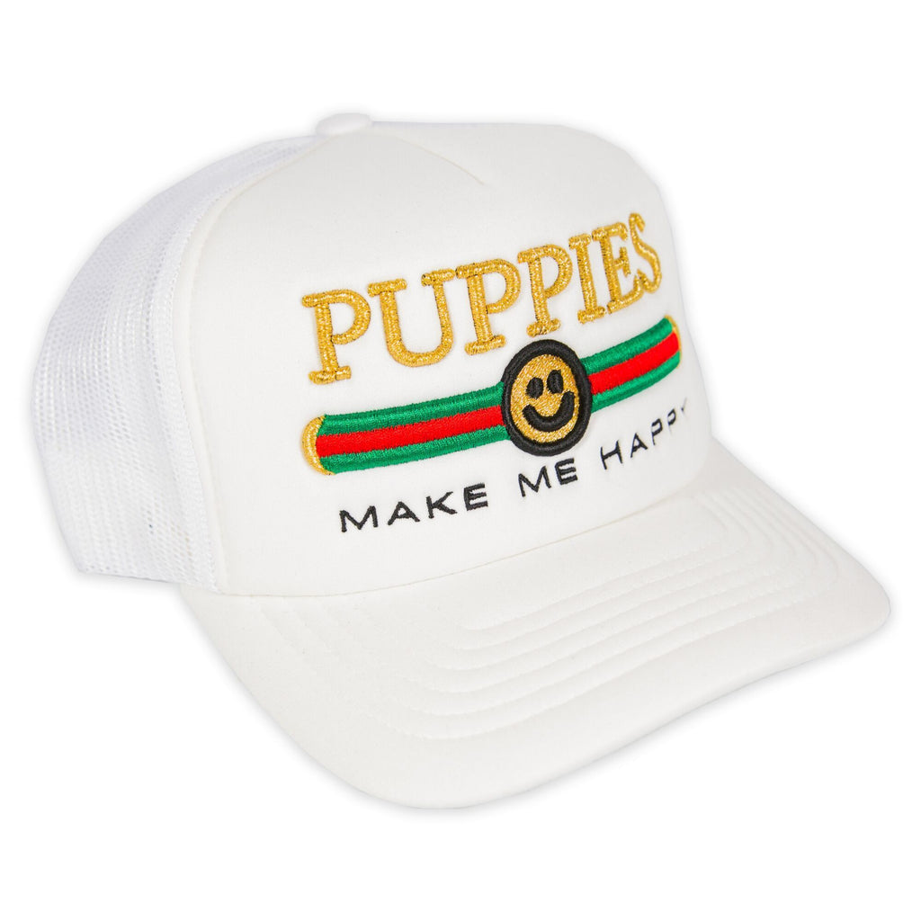 Pup Lux Metallic Gold Puff Embroidery | Trucker Cap - Puppies Make Me Happy