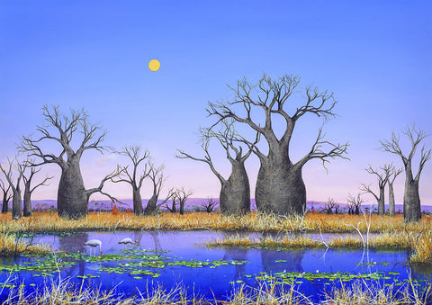 """Brolga Wetland II"" Print on Canvas - Windram Art"