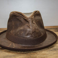 Brown Leather Fedora Front View