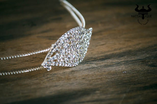 rhinestone headband with leaf